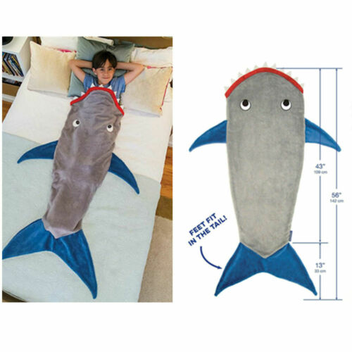 Mermaid Shark Tail Blanket Adult Fleece Boys Girls Sofa Beach Sleeping Bag