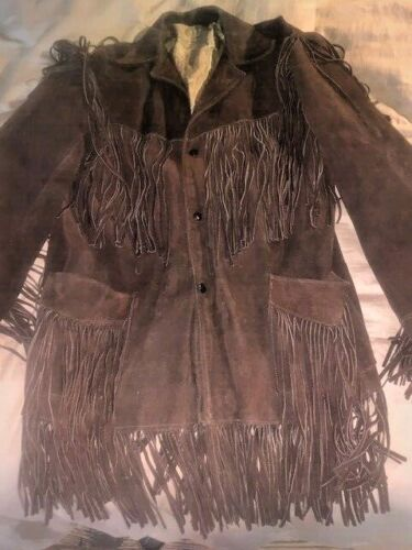 Ladies Brown Vintage Fringe Leather / Suede Jacket