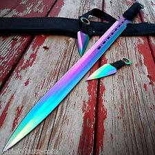 "28"" RAINBOW NINJA SWORD Full Tang Machete Tactical Blade Katana Throwing Knife"