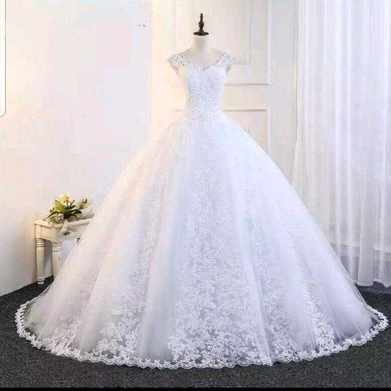 UK White/Ivory Beaded Lace Bridal V Neck Ball Gown Wedding Dresses Size 6-22
