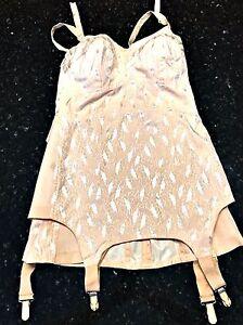 Vintage-Corset-Bustier-Garter-Pink-Pen-Flex-by-Crescent-Heavy-Fabric-Size-40