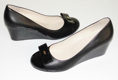 COLE HAAN~NWOB~$180.00~PATENT LEATHER CAP TOE *ELSIE* BOW WEDGE SHOES PUMPS~8.5