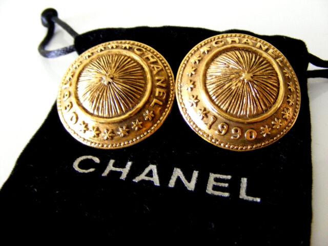 Fabulous Large CHANEL 1990 Button Earrings