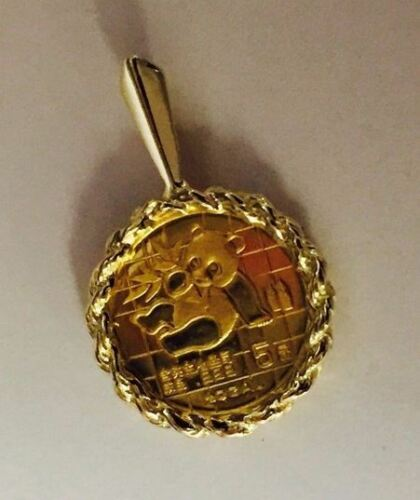 24K CHINESE PANDA COIN SET IN 14K SOLID YELLOW GOLD COIN CHARM PENDANT