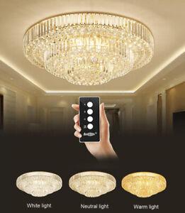 Details about Living room light 3 color LED crystal ceiling lamp bedroom chandelier lighting
