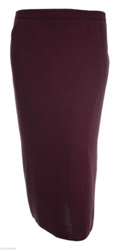 Womens Size 12-24 New Long Length Lined Pencil Skirt Wine Red Work Casual