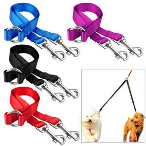 2-Way-Nylon-Dog-Coupler-Leash-No-Tangle-Double-Leads-for-Twin-Two-Dogs-Walking