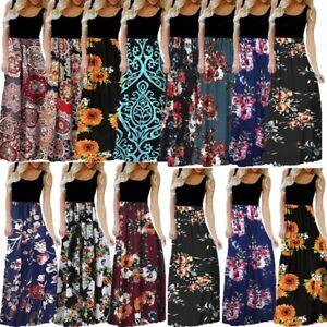 Women-039-s-Ladies-Summer-Casual-Sleeveless-O-neck-Print-Maxi-Tank-Long-Dress-S-3XL