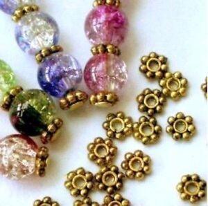 400X-Antike-Gold-Gaensebluemchen-Spacer-Metall-Beads-Schmuck-Herstellung-AM0078