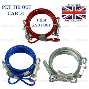 Pet-Dog-Puppy-6-ft-Garden-Tie-Out-Lead-leash-Wire-Cable