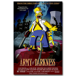 The Simpsons Army Of Darkness Evil Dead Funny Movie Silk Poster 13x20 24x36 Inch Ebay