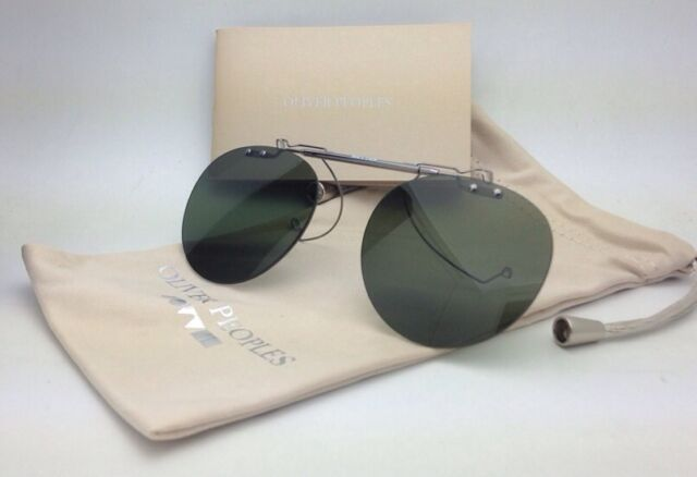 ceed611f1b OLIVER PEOPLES 5186C 5071 Gregory Peck Flip-up Clip-on Gunmetal  Green  Polarized