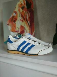 Details about Vintage Adidas Rom White Sneakers Leather Blue Stripes Shoes US5 UK4.5 (23 cm)