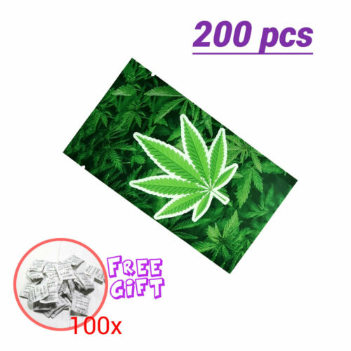 2.75x4.75in Matte Green Foil Mylar Open Top Sealable Herbal Leaf Pouch Bags 28g