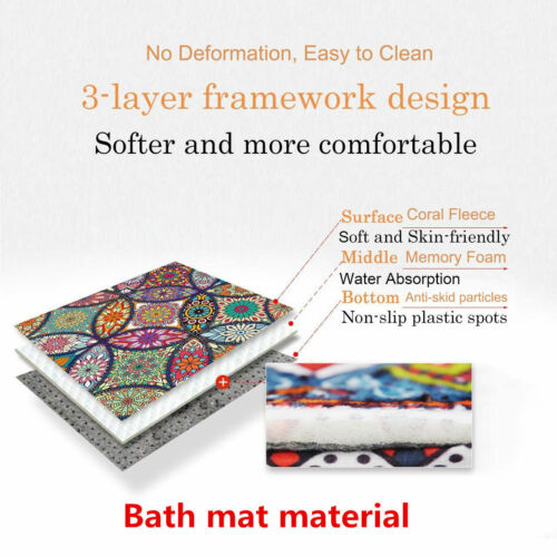 Golden Flower Butterfly Shower Curtain Set Waterproof Fabric Bathroom Mat Hooks