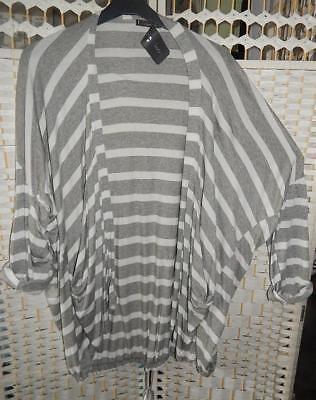 42/44 Weiss/hellgrau***neu Wasserfall Gr Trendy Shirt Jacke Mit Streifen