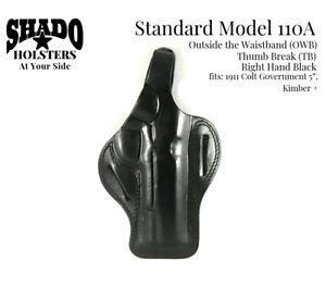 SHADO-Leather-Holster-Standard-Model-110A-RH-Black-OWB-TB-1911-Colt-Government