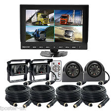 """9"""" Quad Monitor + 4x Metal 4Pin Reversing CCD Camera Rearview Kit Truck Tractor"""
