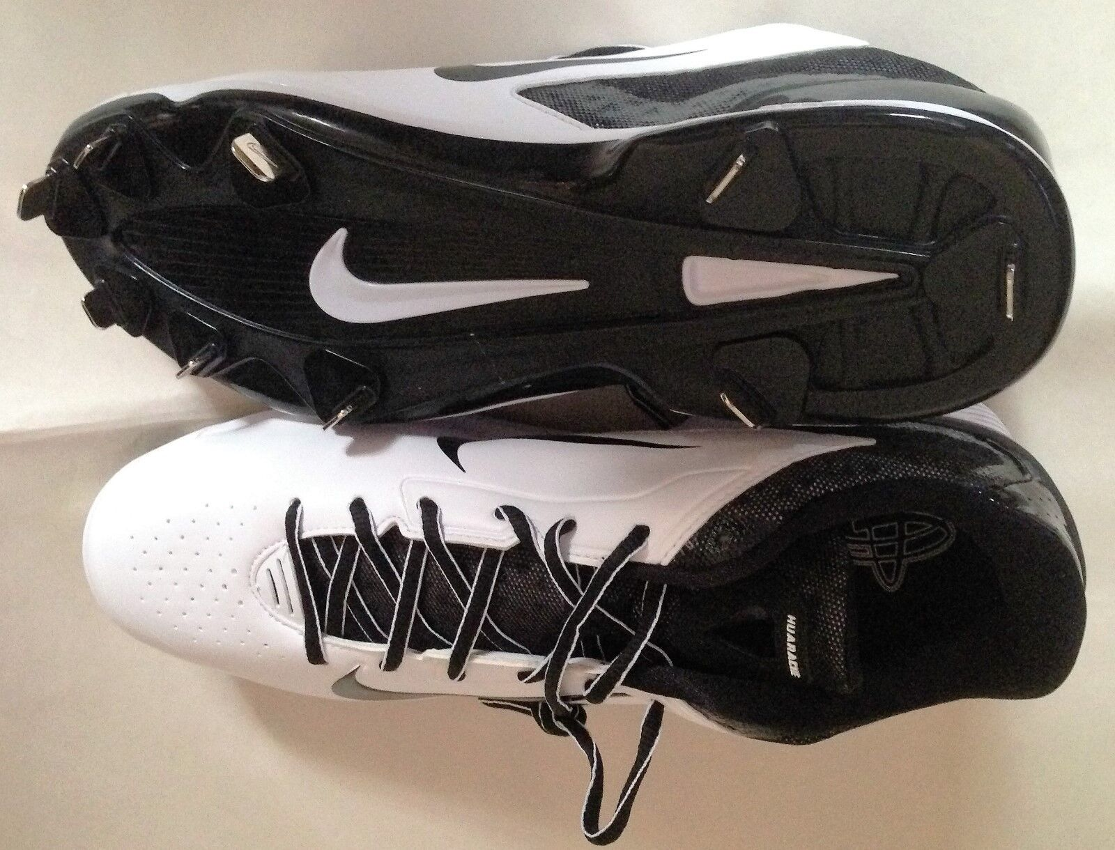 NEW NIKE MEN HUARACHE PRO LOW WHITE/BLACK METAL BASEBALL CLEATS SHOES 13.5 Price reduction Wild casual shoes