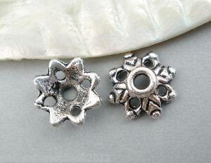 150-Antiksilber-Blumen-Perlen-Beads-Ende-Kappen-Spacer-9x0-3cm