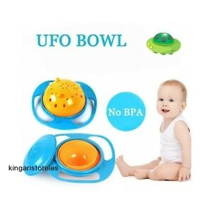 Details about Baby Kids Bowl Non Spill Feeding Toddler 360 Rotating Gyro  Slip Resistant Gift