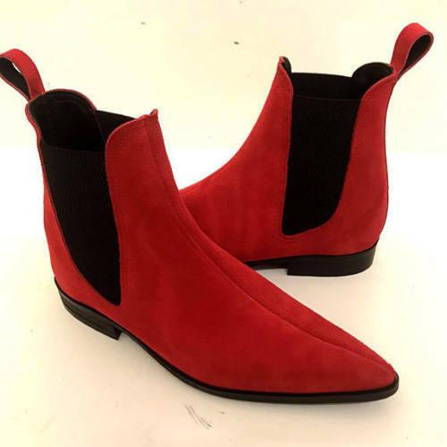Homme Fait à la main bottes couleur rouge en daim Chelsea Formal Wear Décontracté Chaussures US 6 To 16