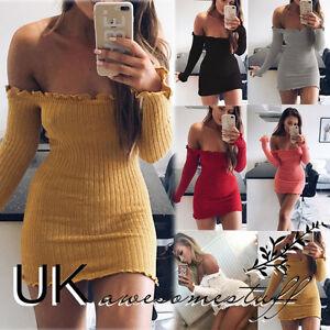 UK Womens Off Shoulder Jumper Dress Ladies Party Bodycon Mini Dress  Size 6 - 14