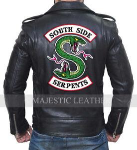 design intemporel 60a34 96fb2 Détails sur Riverdale Southside Serpents Bande Noir Hommes Authentique  Veste Motard Cuir