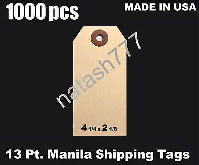 """4 1//4/"""" x 2 1//8/"""" Size 4 Manila Inventory Shipping Hang Tags with Wire 13 Pt"""