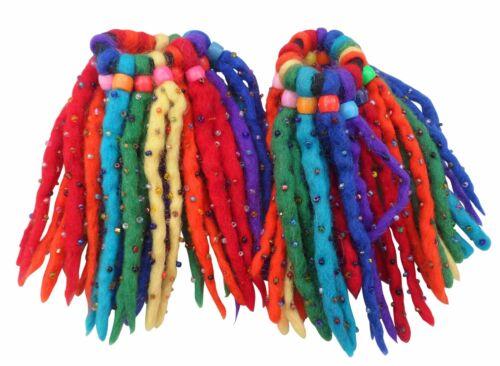 Fair Trade Filz Wolle 16 Strang Wulstig Elastisch Haare Haargummi Dreadlocks