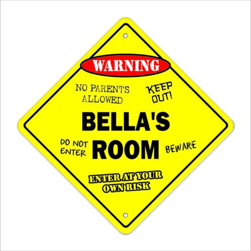 """Bella/'s Room Decal Crossing Xing 10/"""" kids bedroom door children/'s name boy girl"""