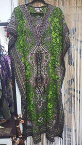 Green-Multi-Maxi-Casual-Beach-Cover-Up-Drawstring-Kaftan-Free-Size-19-95