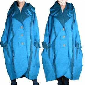 Details zu WOLLE MANTEL TRENCH COAT LAGENLOOK WINTER ÜBERGANGMANTEL L XL XXL 3XL 4XL TÜRKIS