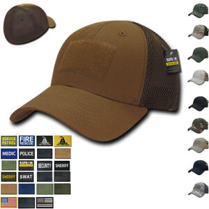 f3a07ee186f Details about RAPDOM Tactical Air Mesh Low Crown Flex Military Caps Hats  with Front Patch