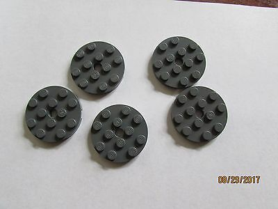 LEGO 6 x Round Plate 4x4 with Centre Hole Yellow NEW