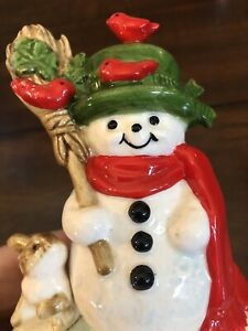 VINTAGE-Otagiri-Frosty-The-Snowman-Music-Box-With-Cardinals-And-Bunny-Works