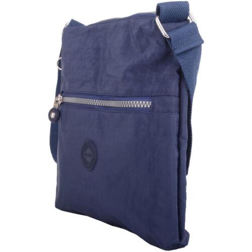 Cross Body Shoulder Bag Ladies Womens Crinkled Nylon Across
