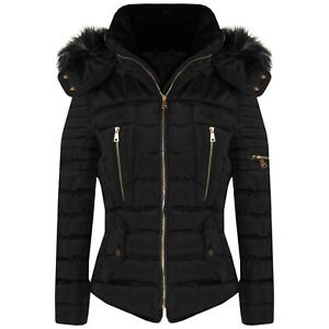 New-Womens-Ladies-Quilted-Winter-Coat-Puffer-Fashion-Fur-Hooded-Jacket-Parka