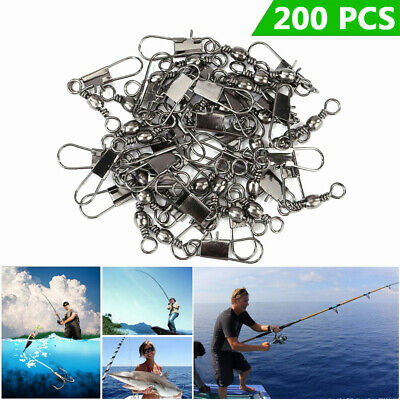 200pcs Swivels Fishing Rolling Connector Swivel Snap Interlock Safety Sea Coarse