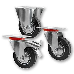 Transportrollen-Schwerlastrollen-Bockrolle-Lenkrolle-mit-Bremse-40mm-bis-200mm