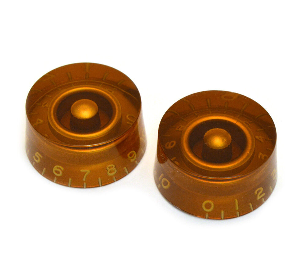 0-11 2 NEW For USA Split Shaft Pots Guitar Bell Knobs AMBER