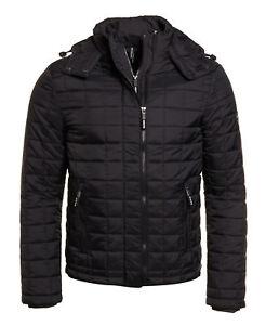 New Mens Superdry Box Quilt Fuji Hooded Jacket Black