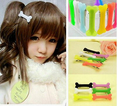 Hot Women Gril Cute Vivid Dog Bone Hair Clips Side Band Hairpin Colorful 2pcs