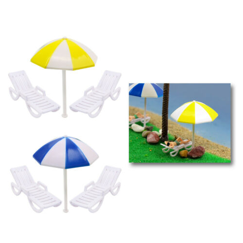 TYS20050 2 Sets Parasols Sun Loungers Deck Chairs Bench Settee 1:50  Model Train