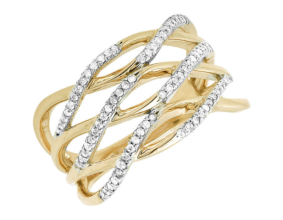 10k Yellow gold Wave Style Strand Diamond Engagement Wedding Fashion Ring 0.25ct