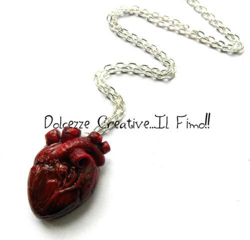 Collana cuore Anatomico anatomical heart minituara emo dark partel goth extreme