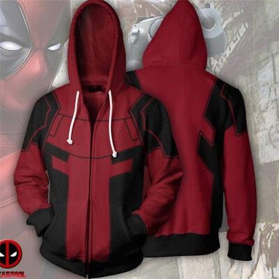 Deadpool 2 X-Men Sweatshirt Cosplay Costume Hoodie Jumper Zip Up Coat Jacket
