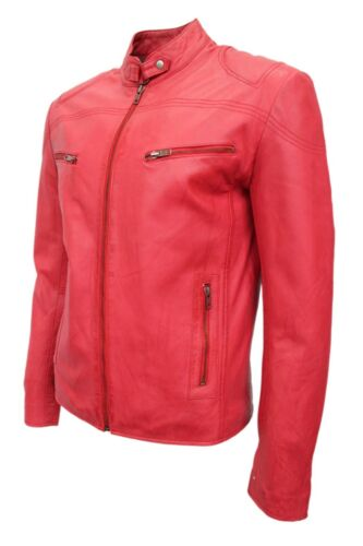 New Deluxe Men/'s Racer Red Real Soft Nappa Leather Classic Biker Stylish Jacket