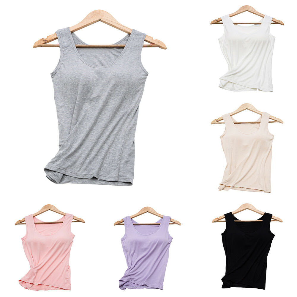 Women's Camisole with Built in Bra V-neck Padded Slim Tank Top Comfortable Tops Clothing, Shoes & Accessories