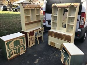 Details about RARE Vintage Singer Dollhouse 8 piece Bedroom Furniture